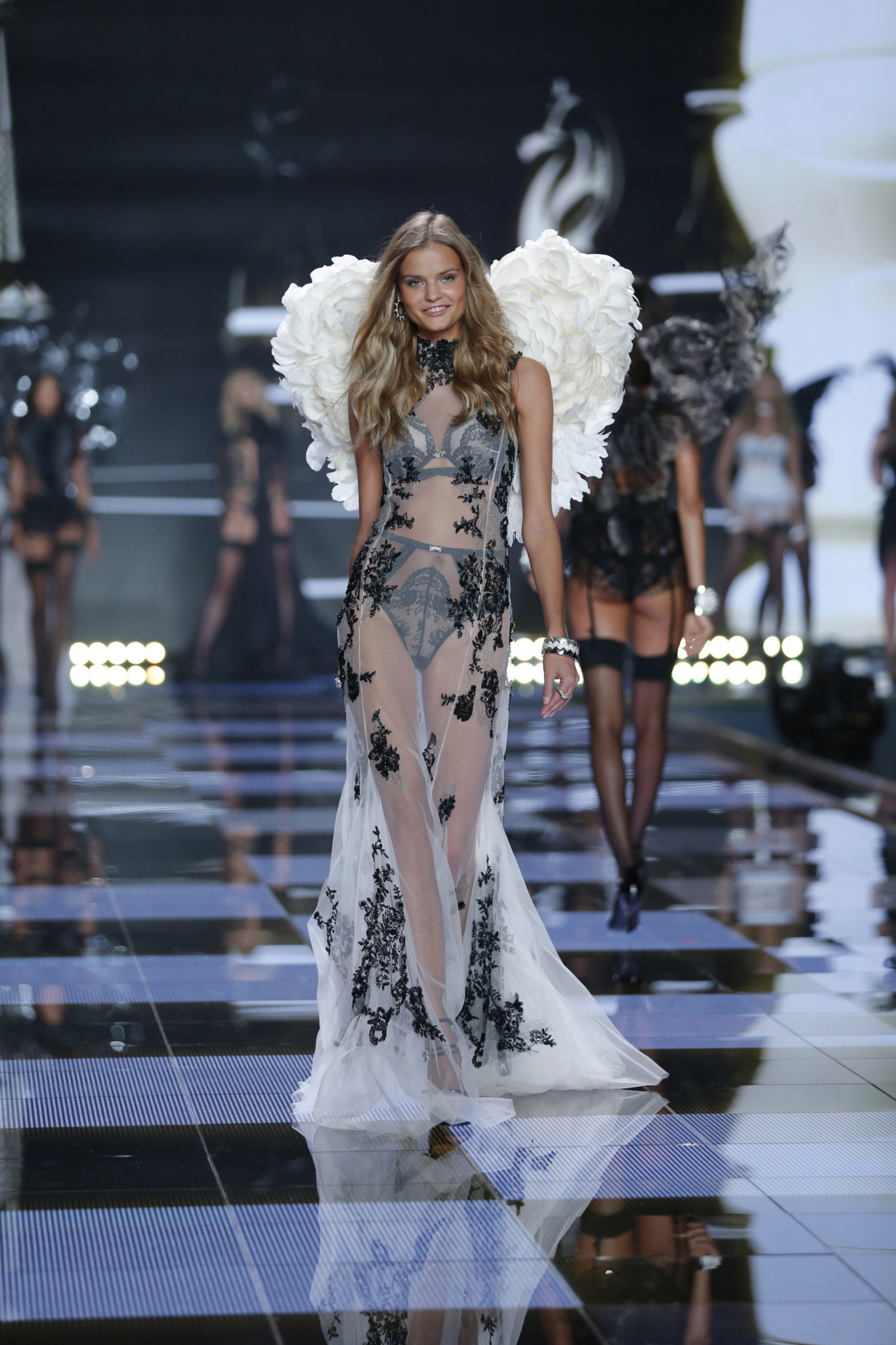 Kate Grigorieva walks the runway at the 2014 Victoria's Secret Fashion Show in London on December 2nd, 2014