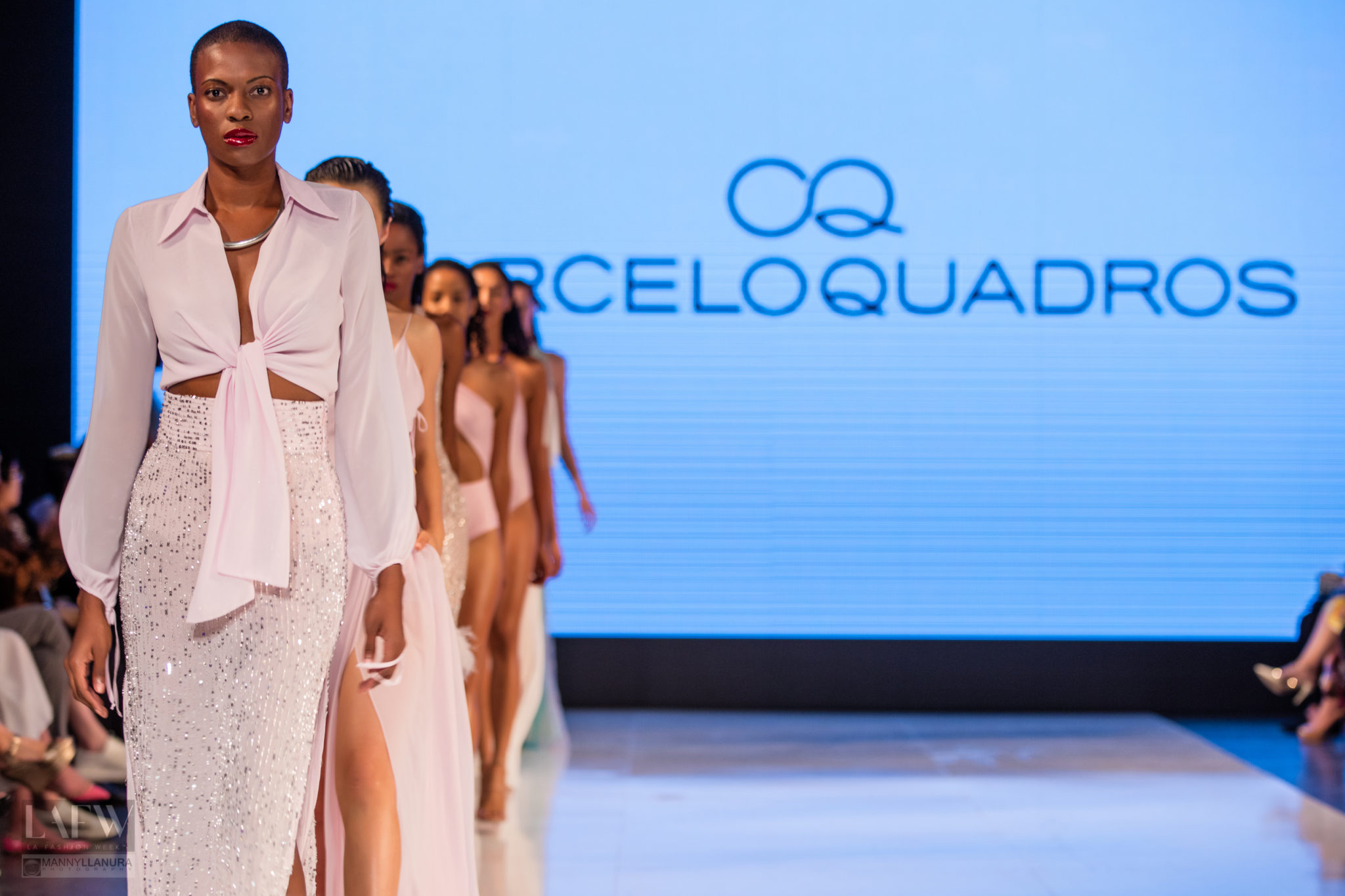 Models walk the runway wearing Marcelo Quadros at LAFW Los Angeles Fashion Week SS17