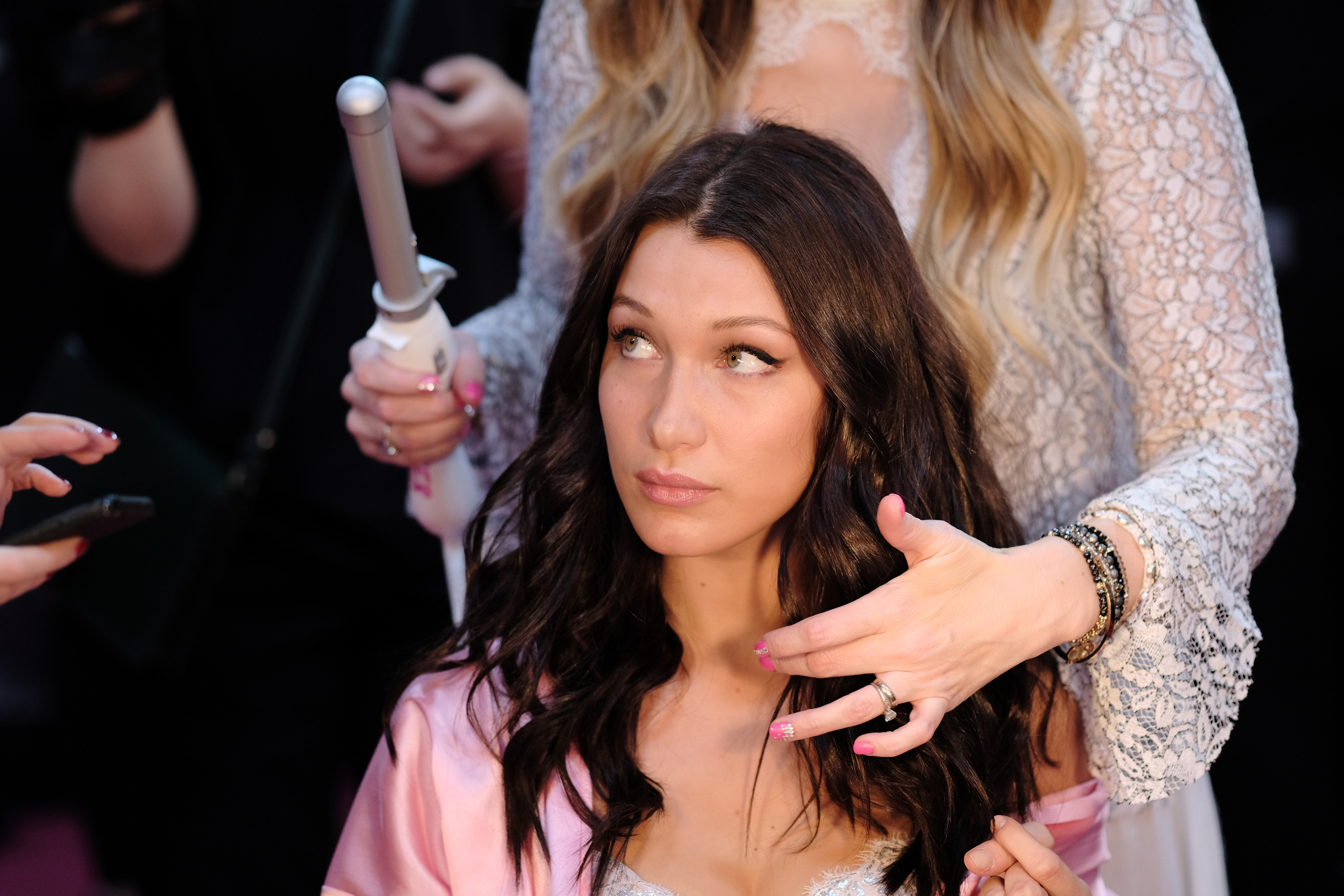 PARIS, FRANCE – NOVEMBER 30: Bella Hadid has her Hair & Makeup done prior the 2016 Victoria's Secret Fashion Show on November 30, 2016 in Paris, France.